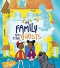 Children's book cover depicting two children and a dog stood in front of a haunted house